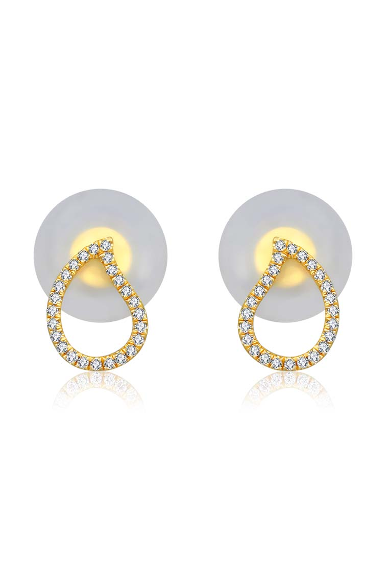 shaped shop diamond tear earrings yellow gold fashion