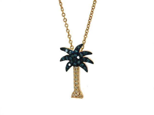 14k blue white diamond palm tree necklace mozeypictures Choice Image