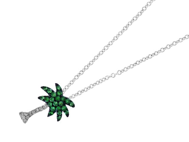 14k tsavorite diamond palm tree necklace aloadofball Gallery