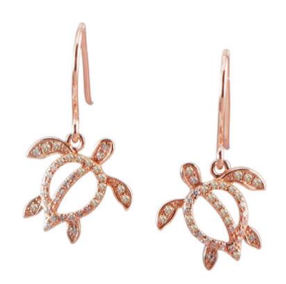 9f0fd5551 14k Rose Gold Diamond Turtle Dangle Earrings