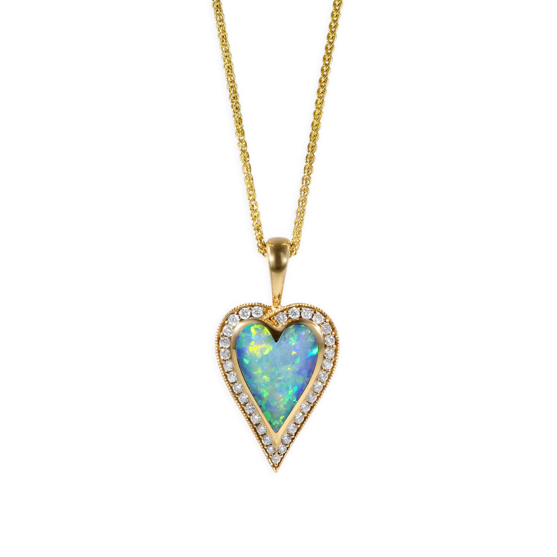 Kabana opal diamonds heart pendant aloadofball Choice Image