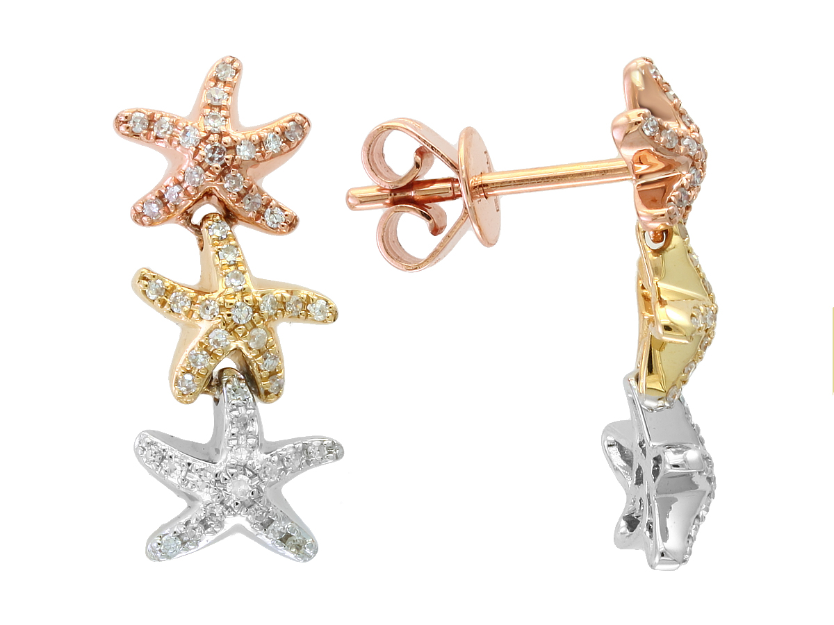 1cf59e90d 14k Tri. Color Diamond Starfish Earrings